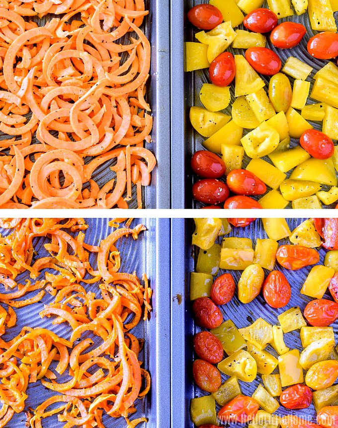 Photo collage showing sheet pans topped with veggies, before and after roasting.