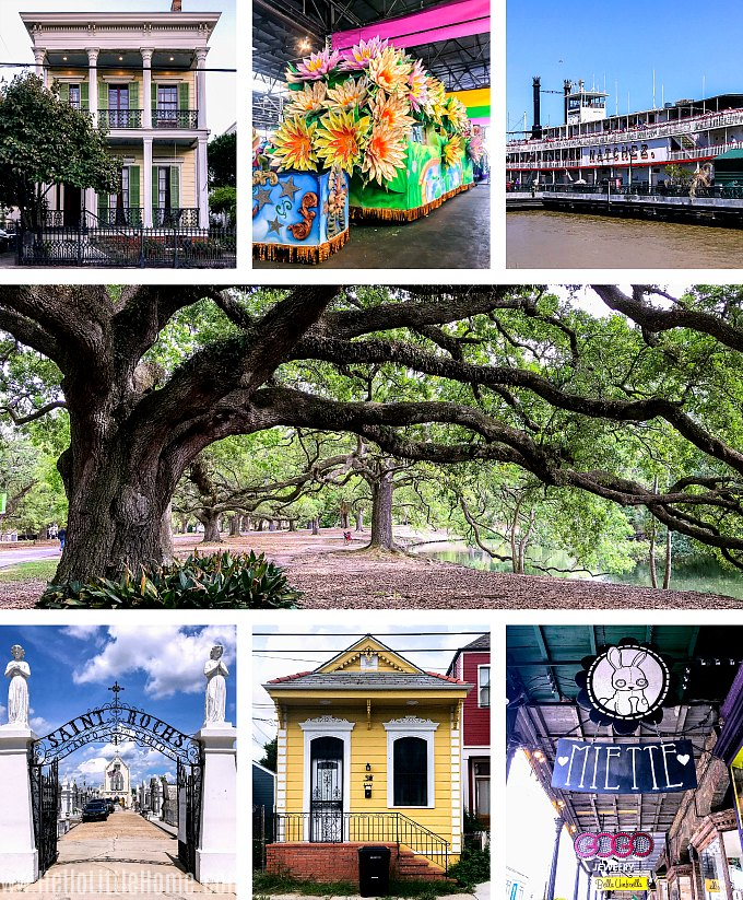 Collage of different places and things to do in New Orleans.