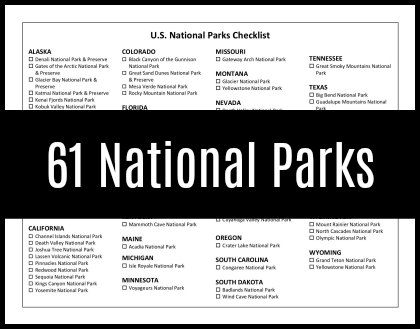 Delicate image inside printable list of national parks by state