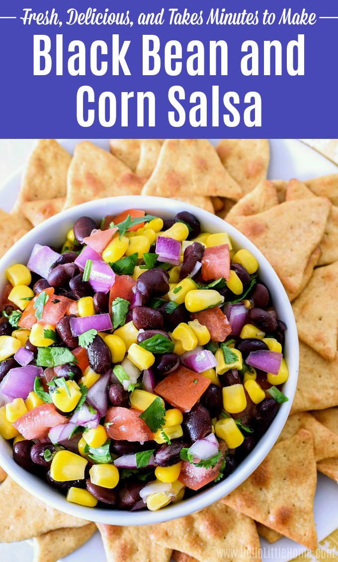 A bowl of Black Bean and Corn Salsa surrounded by chips.