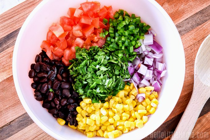 Black Bean and Corn Salsa ingredients in a bowl.