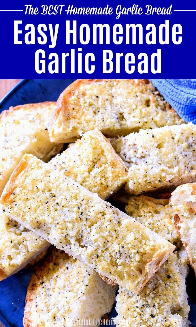 Garlic bread served on a bright blue plate.