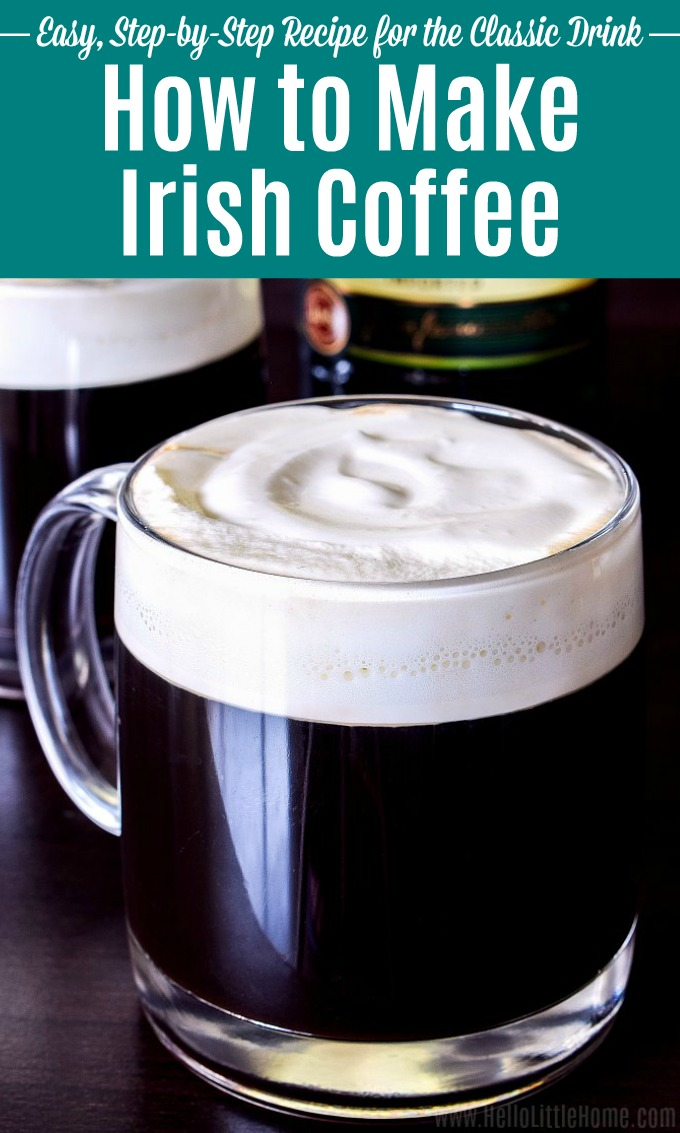 Closeup of a glass of Irish Coffee topped with whipped cream.