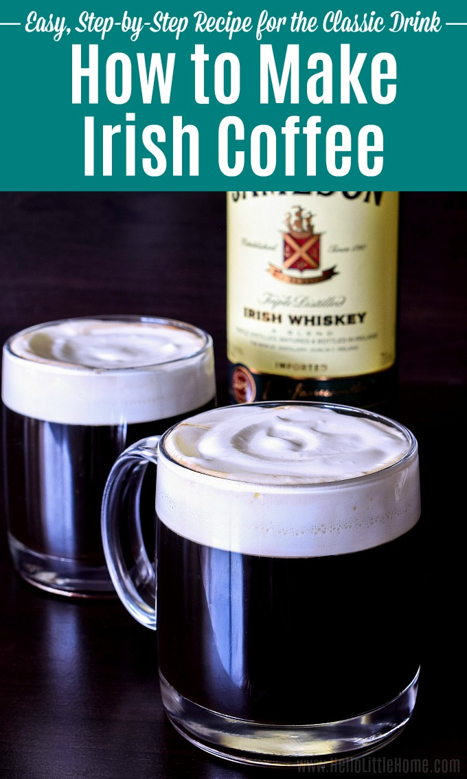 An Irish Coffee recipe served in glass mugs with a bottle of whiskey in the background.