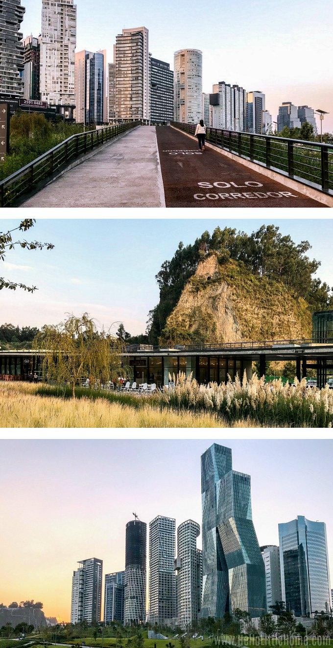 A collage of photos showing the elevated running / walking path in La Mexicana Park in Santa Fe, CDMX.