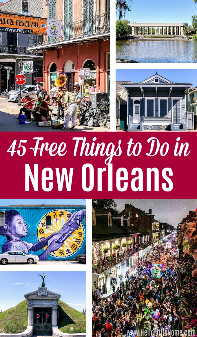 A photo collage showing free things to do in New Orleans.