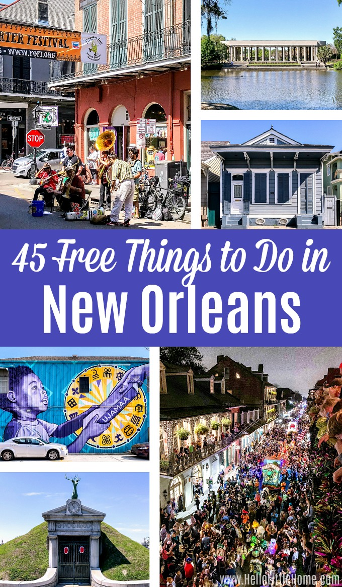 A collage showing free things to do in New Orleans.