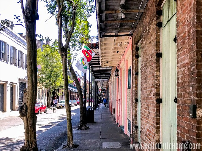 A colorful street in the French Quarter