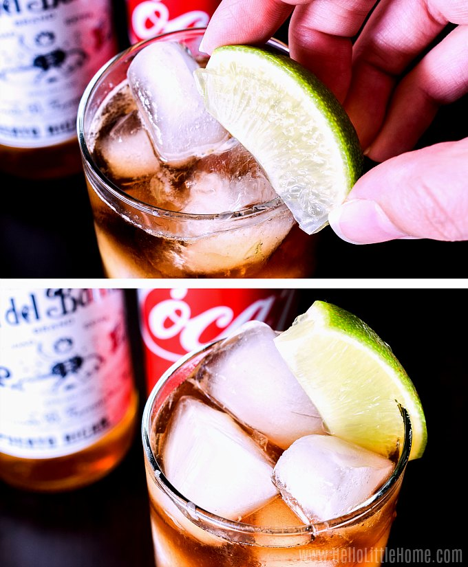 Garnishing a Rum and Coke with a lime wedge.