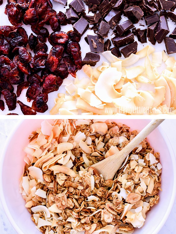 Stirring mix ins, like dried fruit, chocolate, and coconut, into granola.