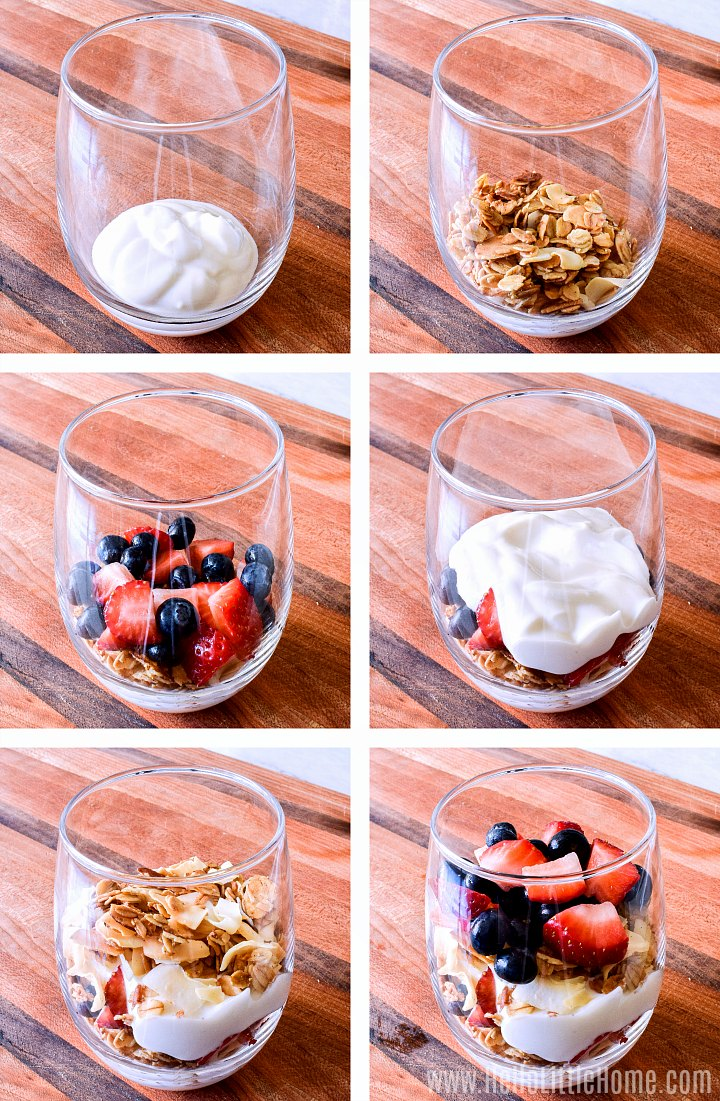 Layering yogurt, fruit, and granola together for parfaits.