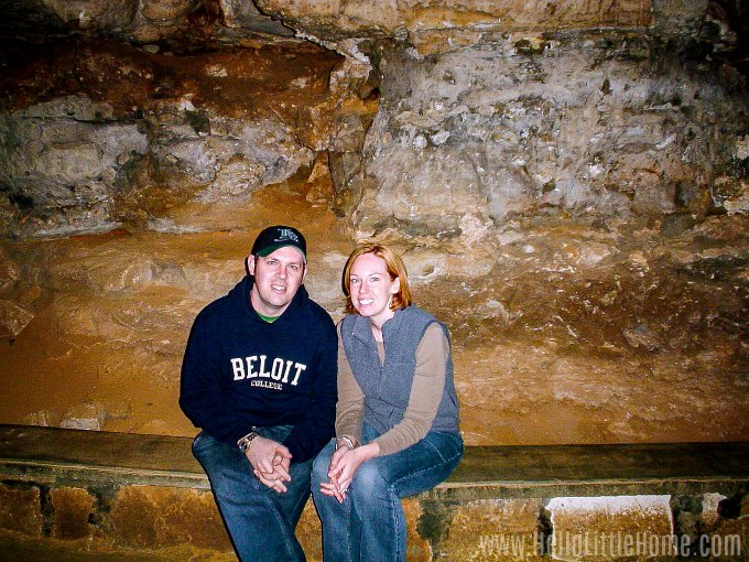 Sitting on a bench in Mammoth Cave National Park.
