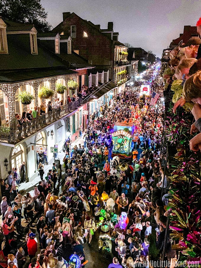 Krewe du Vieux Mardi Gras parade in New Orleans' French Quarter.