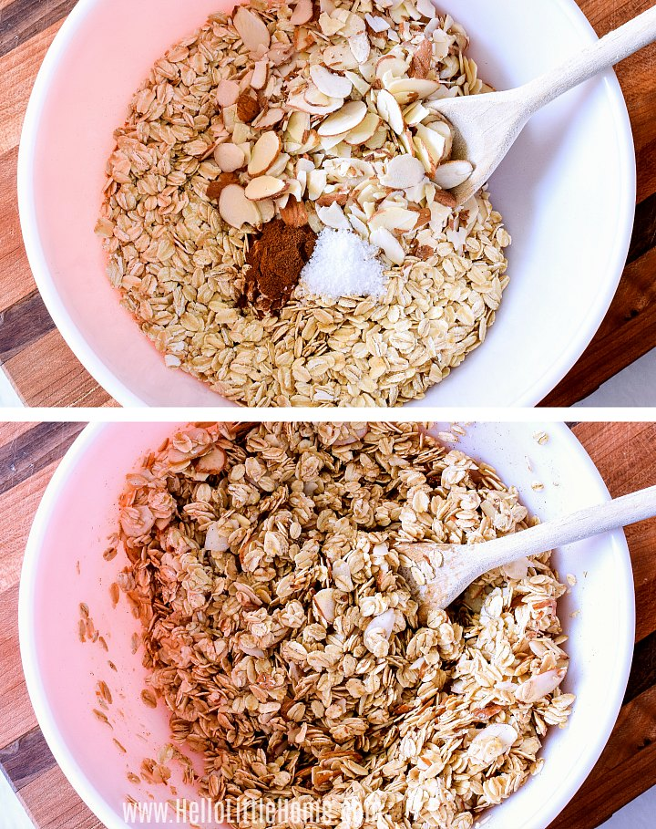Mixing granola ingredients together in a bowl.