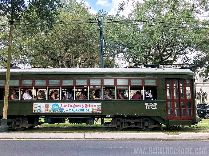 A streetcar on St. Charles Avenue in New Orleans.