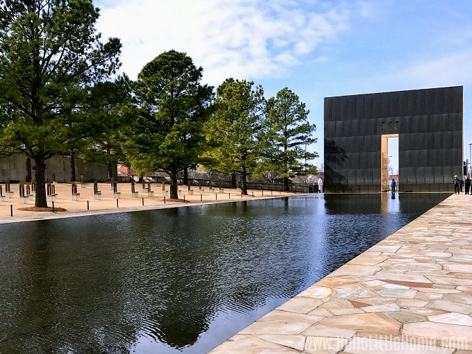 A reflecting pond at the Oklahoma City National Memorial.