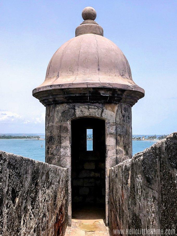 A sentry box at San Juan National Historic Site.