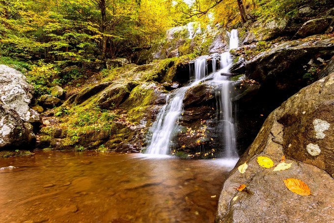 Fall colors and a waterfall in Shenandoah National Park.