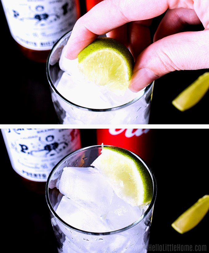 Squeezing a lime into a glass for a Cuba Libre.