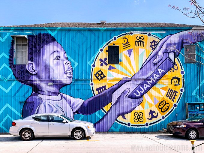 Colorful street art in New Orleans.