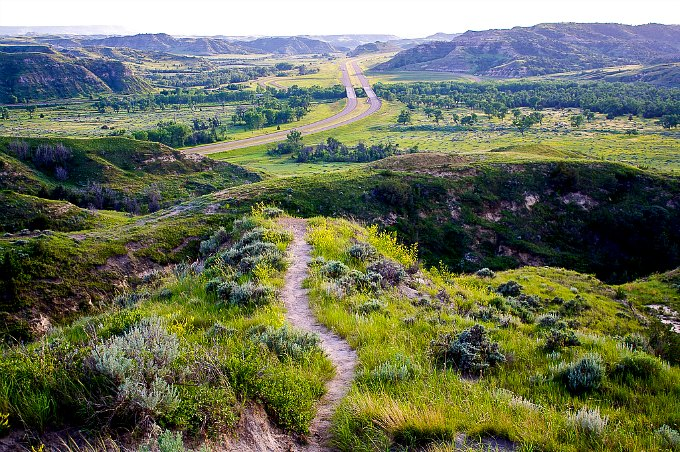A sweeping view of Theodore Roosevelt National Park.