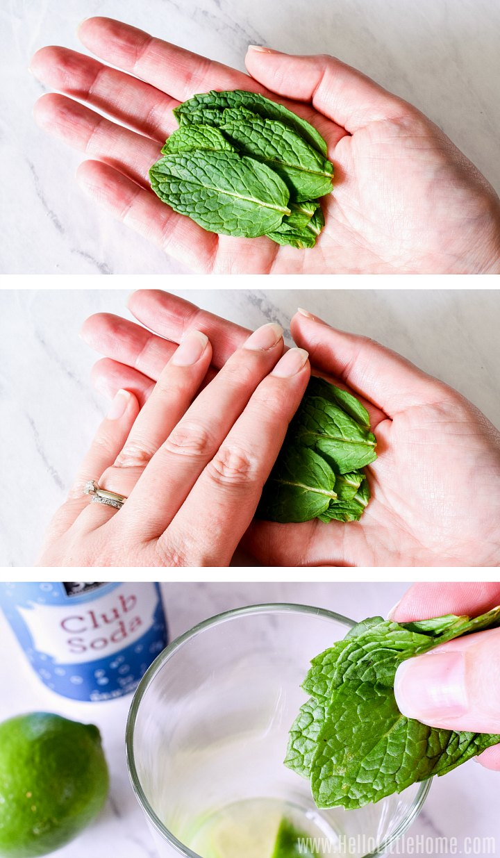 Adding mint to a mojito.
