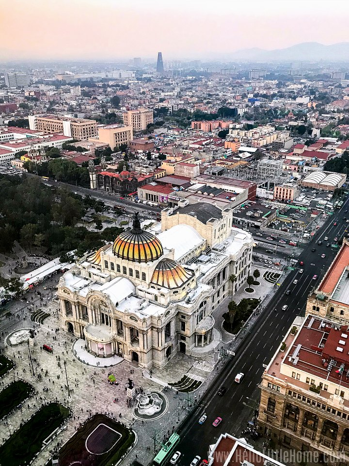 An overhead view of the Mexico City and the Palacio de Bellas Artes.