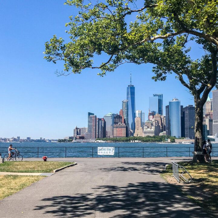 A view of the Manhattan skyline from Governors Island.