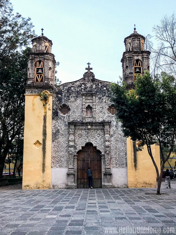 Exterior of a church (Iglesia de la Conchita) in Coyoacan.