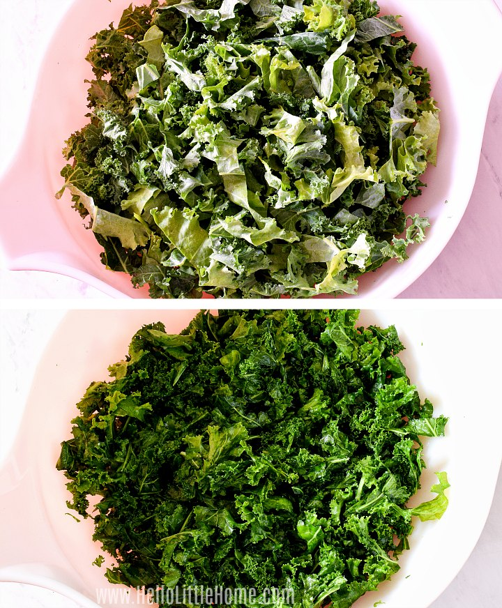 Photo collage showing kale before and after massaging.