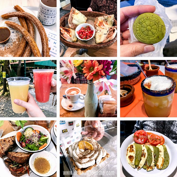 A collage of food from different Mexico City restaurants.