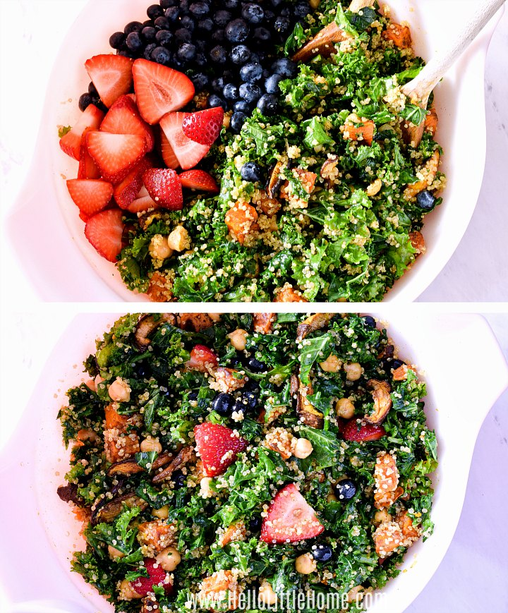 Mixing strawberries and blueberries into Kale Salad.
