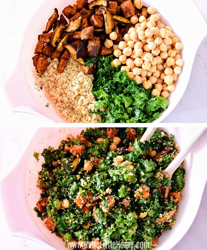 Mixing together quinoa, kale, mushrooms, sweet potatoes, and chickpeas.