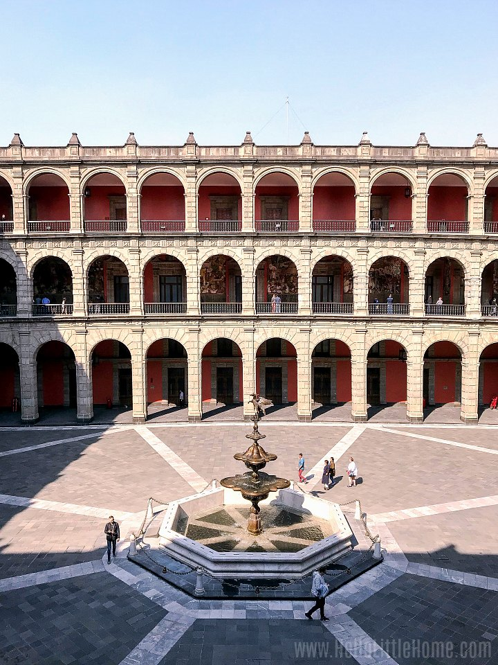 A fountain in a courtyard at the Palacio Nacional (National Palace) in Mexico City.