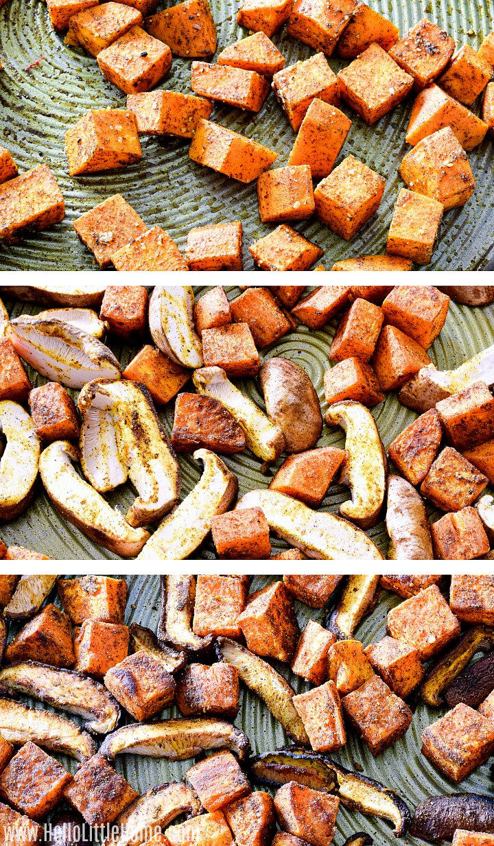 Photo collage showing mushrooms and sweet potatoes before and after roasting.