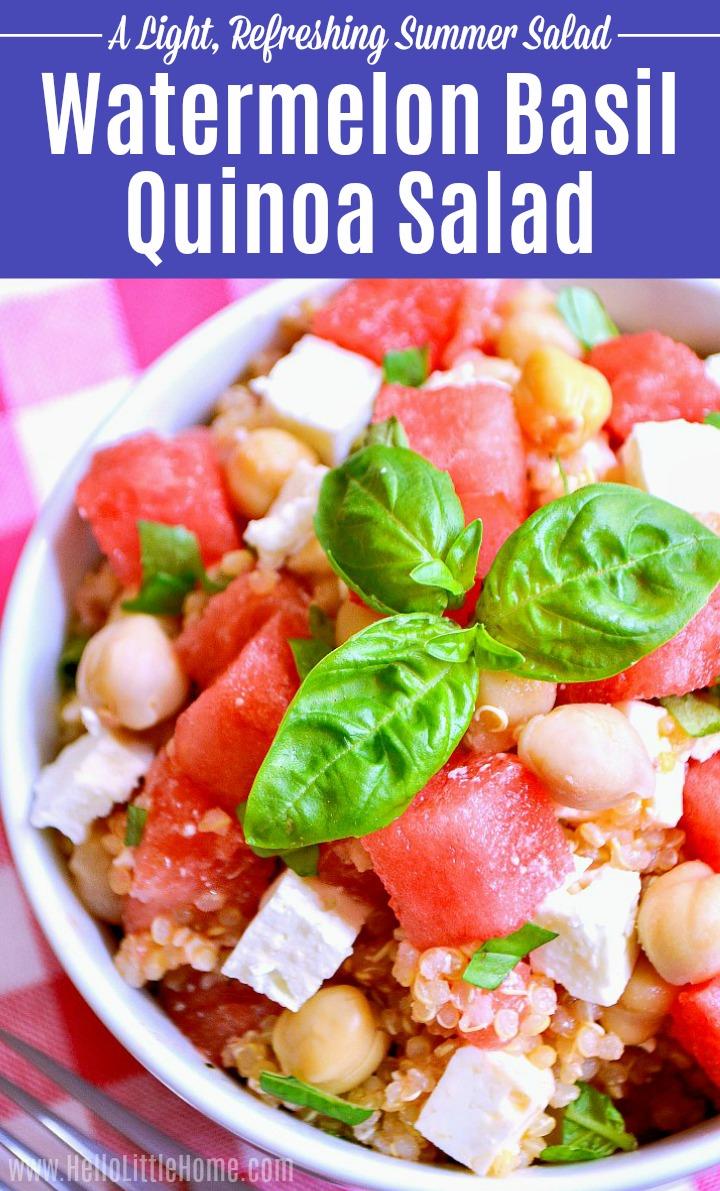 Closeup of a bowl of Watermelon Basil Quinoa Salad.