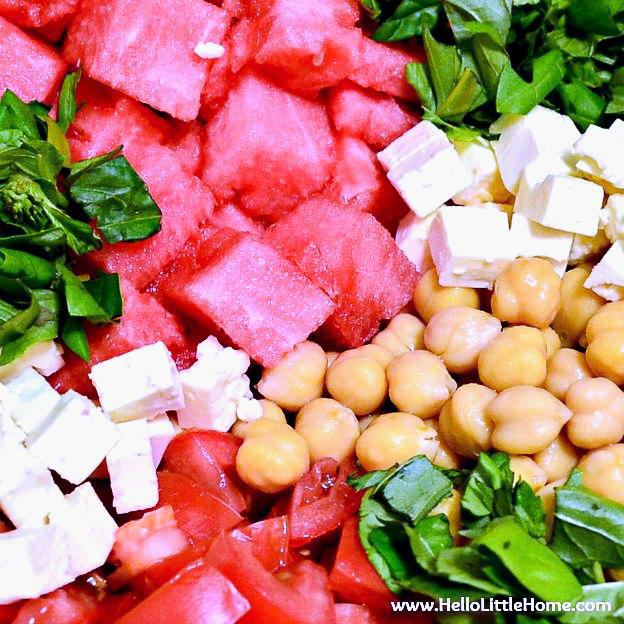 A closeup of Waterlemon Basil Salad ingredients