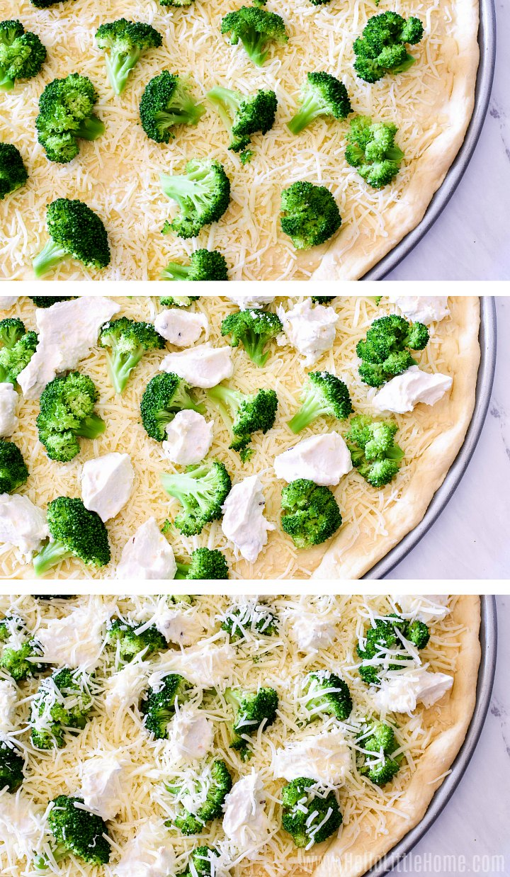 White pizza toppings: adding broccoli, ricotta, and cheese to pizza.