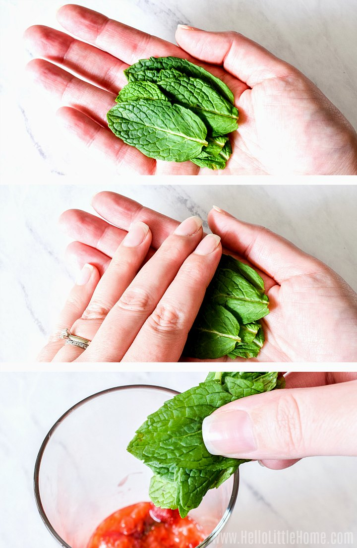 A photo collage showing a hand preparing the mint, then adding it to a glass.