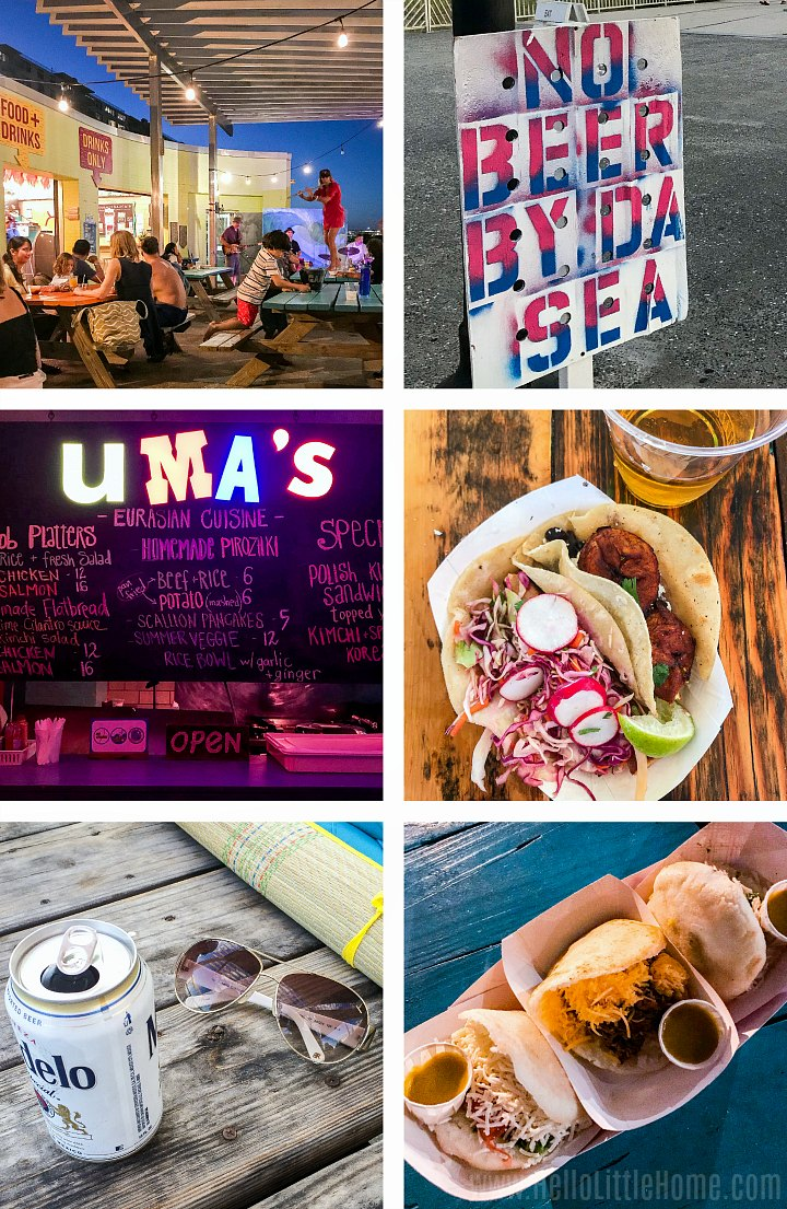 A collage of different Rockaway Beach restaurants, bars, and food.