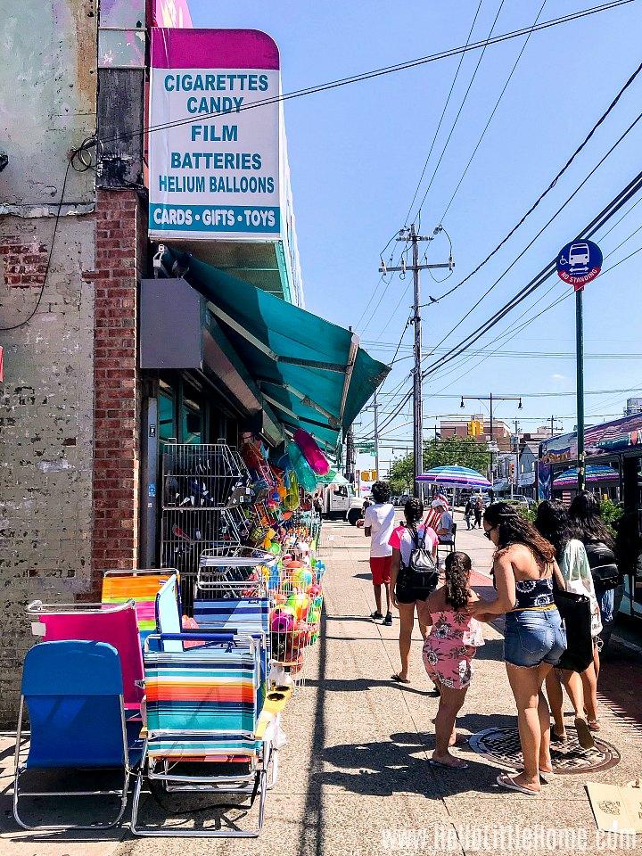 Shops on 116th Street in Rockaway Beach.
