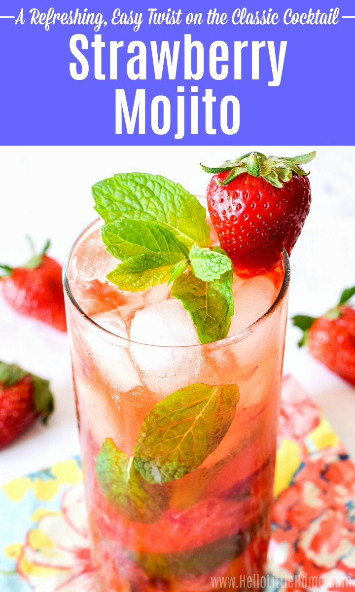 A Strawberry Mojito garnished with mint and a fresh strawberry in a tall glass.