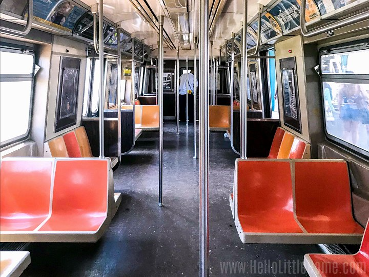 The inside of a subway car headed to the Rockaways.