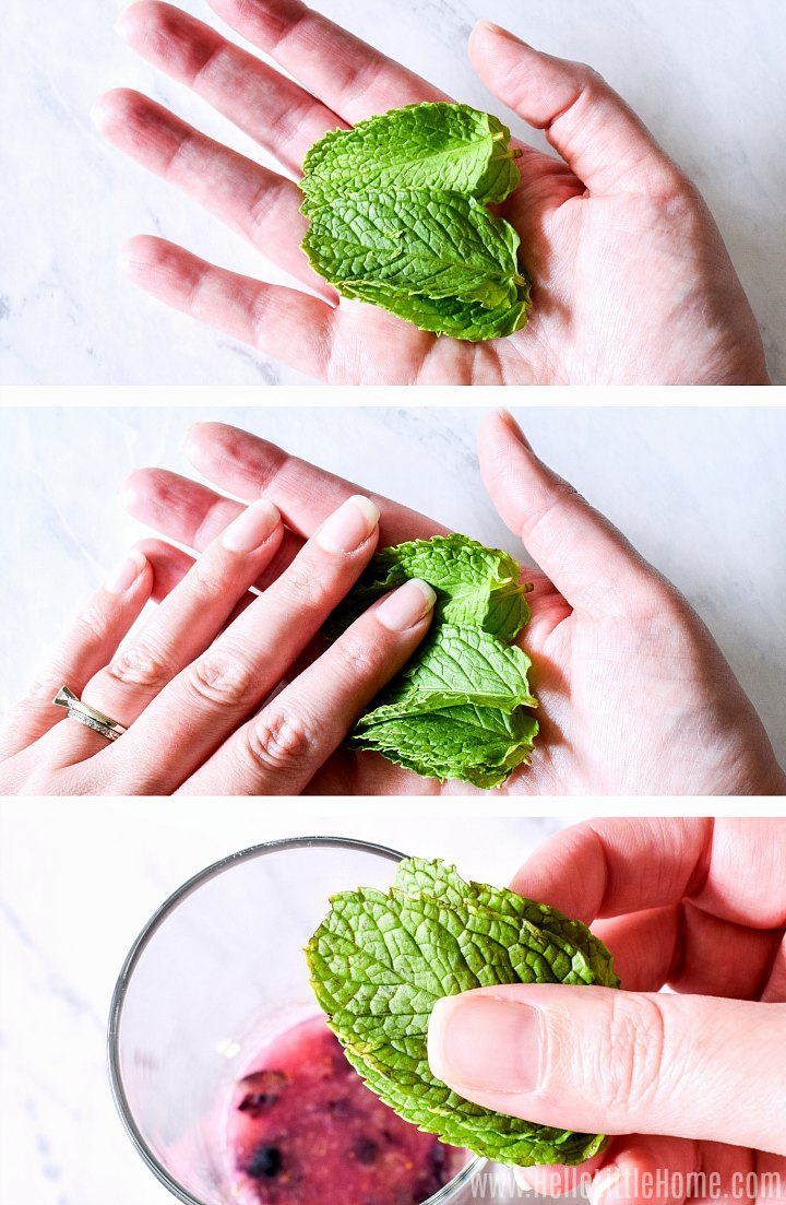 A photo collage showing a hand preparing the mint leaves, then adding them to the glass with muddled fruit.