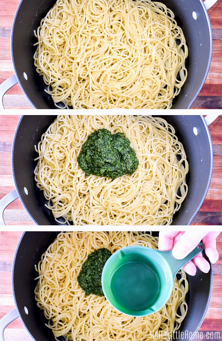Adding pesto to pasta in a large pot.