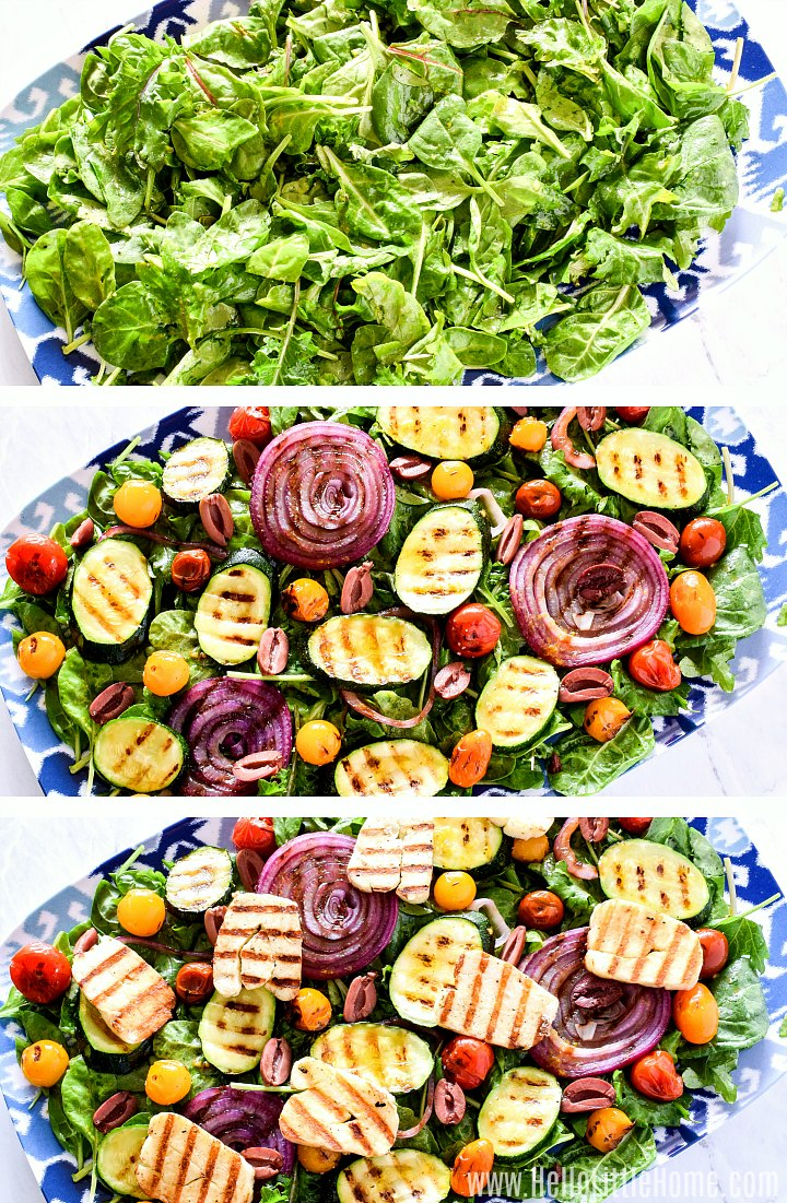 A collage of photos showing how to assemble a Grilled Halloumi Salad.