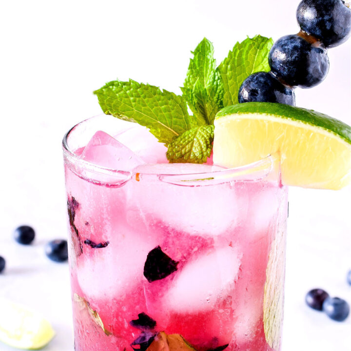 Closeup of the finished Blueberry Mojito garnished with mint, blueberries, and a lime wedge.