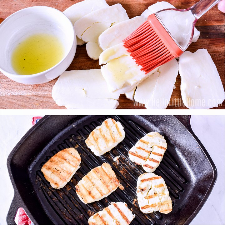 Brushing Halloumi with olive oil then grilling.