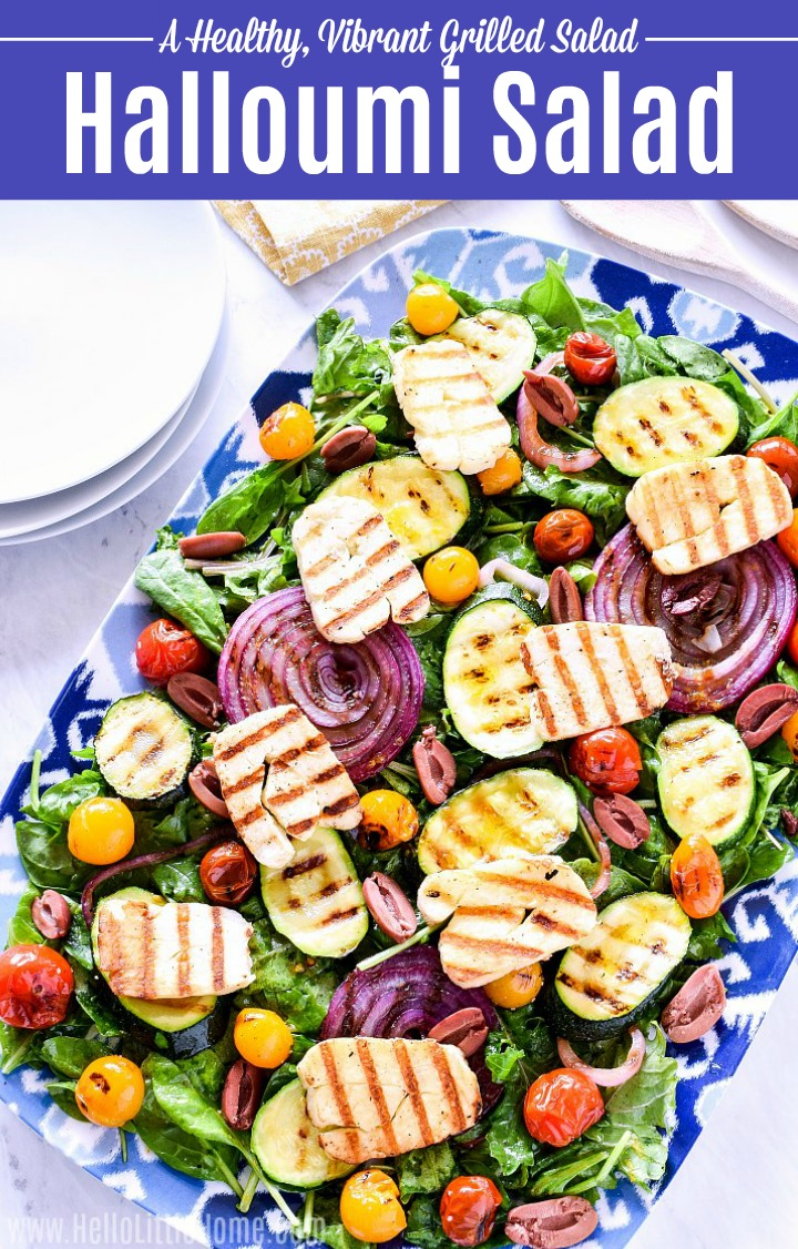 A Halloumi Salad served on a large platter.