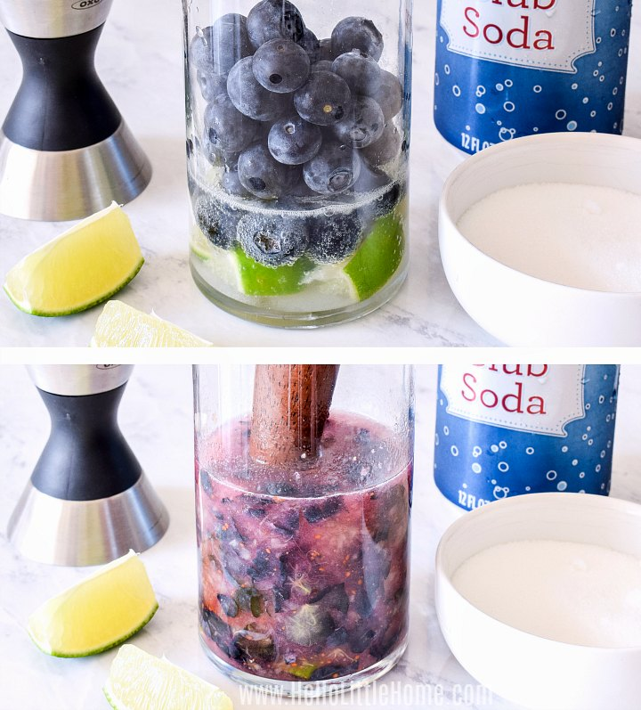 Photo collage showing fresh blueberries, limes and club soda being muddled in a glass.